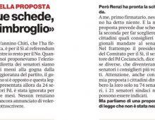 La scheda per il Senato mostrata da Renzi è un imbroglio: lo dice Fornaro, il senatore PD della proposta di legge